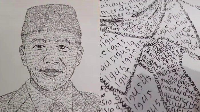 Viral Video Pemuda Gambar Wajah Presiden Jokowi dari Rangkaian Kata, Mengaku Ingin Salurkan Hobi