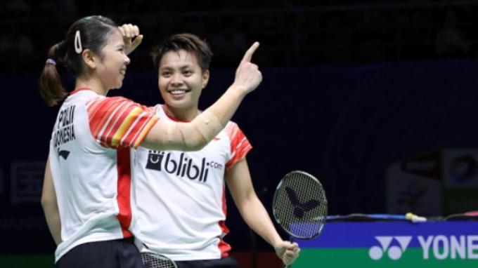Ganda putri Indonesia, Greysia Polii/Apriyani Rahayu saat tampil pada laga keempat kontra Taiwan di Guangxi Sport Center, Nanning, China, Jumat (24/5/2019).