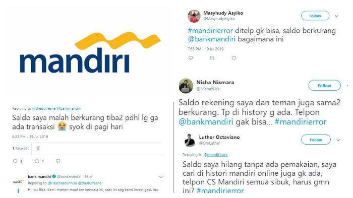 Gangguan Bank Mandiri Hari Ini Nasabah Keluhkan Saldo Hilang Hingga Tersisa 0 Rupiah Tribunnews Com Mobile