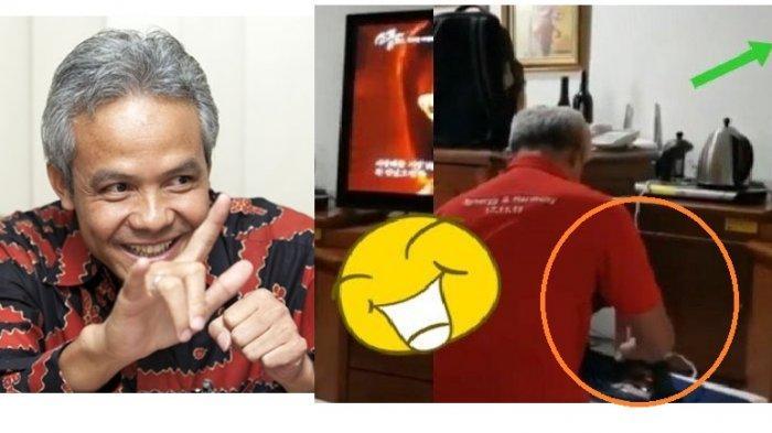 Viral Gubernur Ganjar Pranowo Setrika Baju Buat Acara Pelantikan Jokowi, Ada yang Bikin Gagal Fokus!