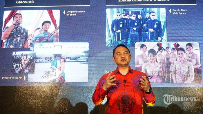 CEO Garuda Indonesia Ari Ashkara memberikan keterangan pada konferensi pers peluncuran boarding pass Garuda Indonesia di kawasan Dharmawangsa, Jakarta Selatan, Rabu (2/10/2019). Garuda Indonesia meluncurkan Boarding Pass terbarunya untuk para penumpang serta business partner Garuda Indonesia.