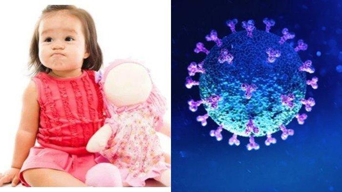 Ilustrasi anak-anak dengan virus Corona.