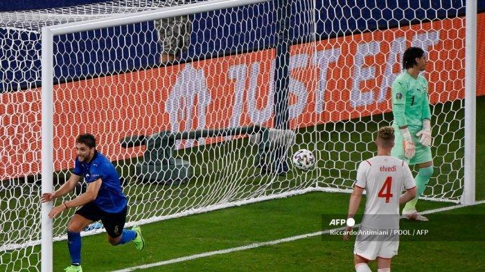 Hasil Babak I Italia vs Swiss Euro 2020 - Chiellini Cedera, Locatelli Cetak Gol, Azzurri Unggul 1-0