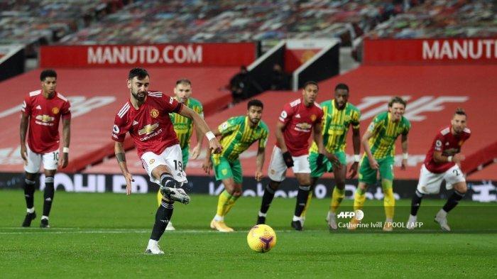 Hasil Liga Inggris Manchester United vs West Brom - si Raja Penalti Cetak Gol, Setan Merah Menang