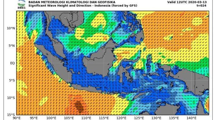Peringatan Dini Gelombang Tinggi BMKG Kamis 22 April 2021, Diprediksi 4 Meter di Selatan Jawa Timur