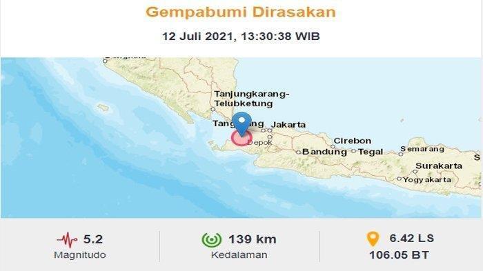 Gempa Bumi Magnitudo 5,2 Terjadi di Pandeglang Banten