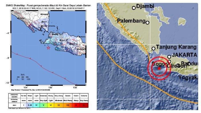 Gempa Berkekuatan 5 SR Mengguncang Lebak Banten Jumat Pagi, 7 Desember 2018