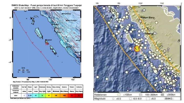 Gempa Magnitudo 5,7 Guncang Tuapejat Kepulauan Mentawai Senin Dini Hari, Warga Panik Keluar Rumah