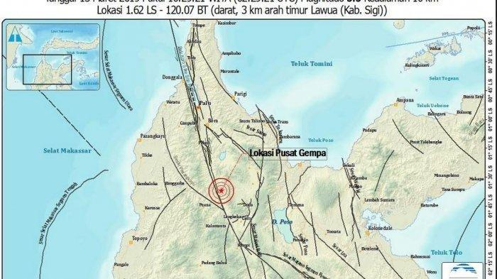 Kota Palu 2 Kali Diguncang Gempa Bumi pada Rabu Pagi, Satu di Antaranya Berkekuatan 5,0 SR
