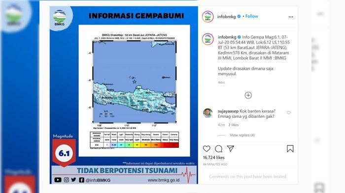 Gempa Bumi Tektonik M 6,1 di Jepara Pagi Ini, BMKG Beberkan Penyebabnya dan Berikan Imbauan