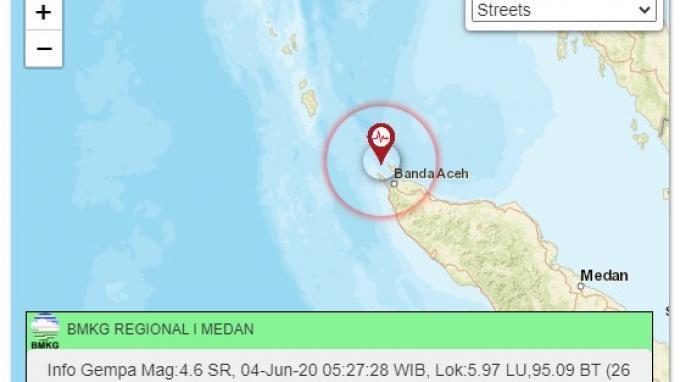 BNPB Masih Monitor Dampak Gempa M 4,8 di Aceh Pagi Tadi