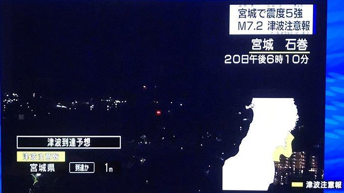 Gempa bumi di Miyagi, Sabtu (20/3/2021) jam 18.10 waktu Jepang berkekuatan Magnitude 7,2 getaran 5+.