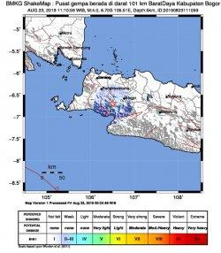 Wilayah Kabupaten Bogor, Jawa Barat dan sekitarnya diguncang gempa bumi tektonik, Jumat (23/8/2019) pukul 11:10:59 WIB.