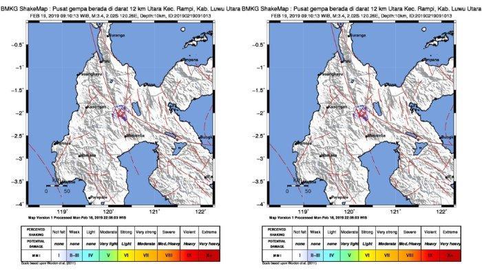 Gempa Hari Ini - Luwu Utara Diguncang Gempa, BMKG Catat Terasa hingga Masamba
