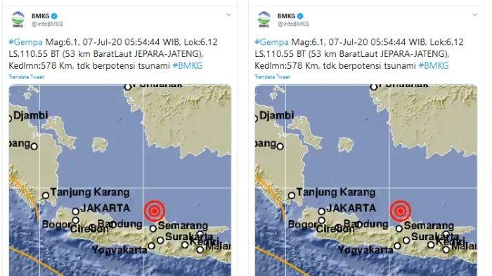 BMKG Catat Gempa M 6.1 Guncang Jepara Jawa Tengah Pagi Ini, Tidak Berpotensi Tsunami
