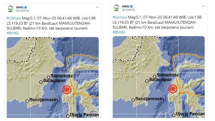 Gempa Magnitudo 5 1 Guncang Mamuju Tengah Sulawesi Barat Pagi Ini Tribunnews Com Mobile
