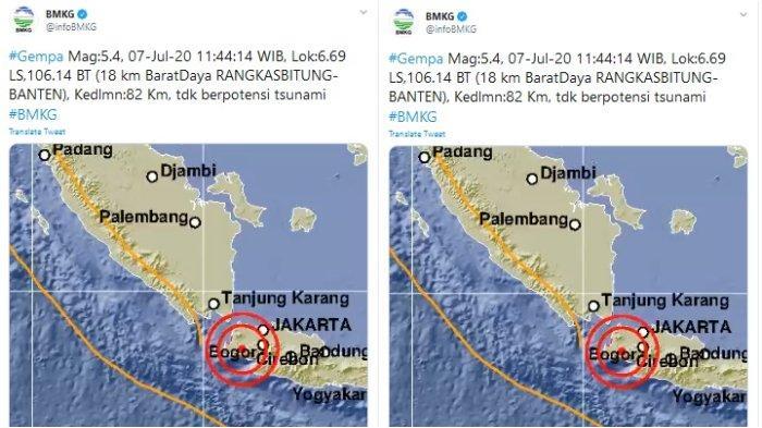 Gempa Magnitudo 5,4 Guncang Rangkasbitung, Banten Siang Ini