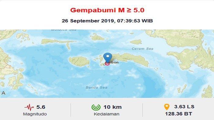 Gempa guncnag 3 daerah di Ambon dan sekitarnya