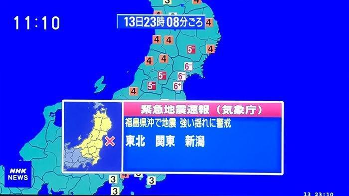 Gempa besar menghantam Jepang malam ini dengan pusat di pinggir pantai Fukushima Tohoku utara Jepang.