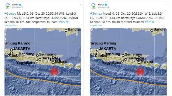 Gempa Magnitudo 5,0 Guncang Lumajang Jawa Timur Malam Ini