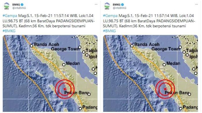 Gempa Magnitudo 5,1 Guncang Padang Sidempuan Sumatra Utara Siang Ini