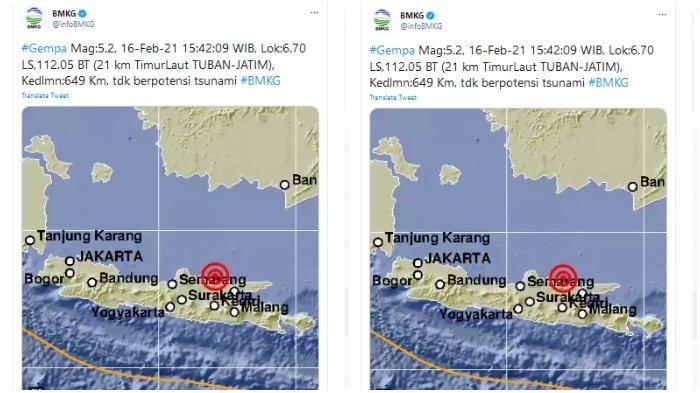 Gempa Magnitudo 5,2 Guncang Tuban, Jawa Timur Sore Ini