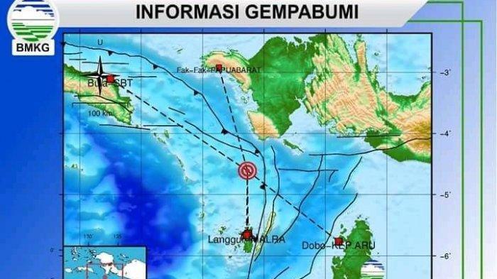 Gempa Bumi Magnitudo 5,0 Guncang Tual, Maluku, Selasa Jelang Subuh