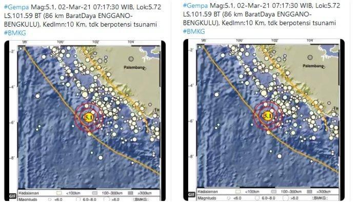 Gempa Magnitudo 5,1 Guncang Enggano Bengkulu, Tidak Berpotensi Tsunami