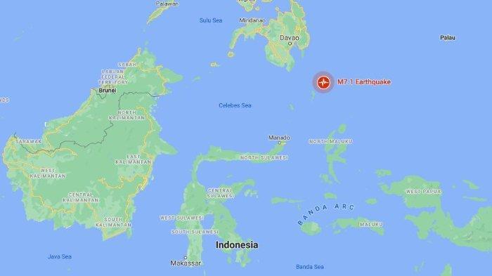 Lokasi gempa dengan kekuatan magnitudo 7,1 di Timur Laut Melonguane, Kabupaten Kepulauan Talaud, Sulawesi Utara, Kamis (21/1/2021).