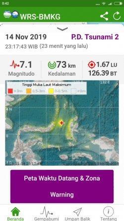 Gambar lokasi gempa di Sulut dan kekuatannya