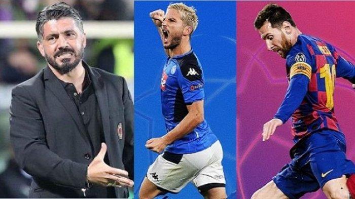 Gennaro Gattuso menatap laga Napoli vs Barcelona di Liga Champions.