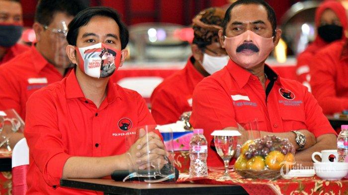 Putra Presiden Joko Widodo, Gibran Rakabuming Raka (kiri) bersama Ketua DPC PDIP Solo FX Hadi Rudyatmo (kanan) menghadiri acara pengumuman rekomendasi pasangan calon yang diusung PDI-P pada Pilkada Serentak 2020, oleh DPD PDI-P Jateng, Jumat (17/7/2020). Pasangan Gibran-Teguh direkomendasikan oleh DPP PDI-P untuk terjun dalam ajang Pilkada Solo. TRIBUNNEWS/HO/Tim Komunikasi dan Medsos Gibran