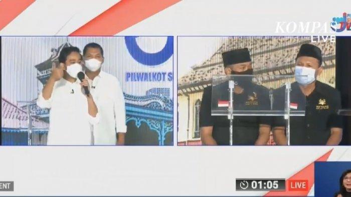 Gibran Rakabuming Raka-Teguh Prakosa dan Bagyo Wahyono-FX Supardjo saat debat Pilkada Solo 2020 di The Sunan Hotel Solo, Jumat (6/11/2020).