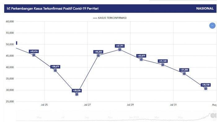 Grafik kasus baru harian Covid-19, Senin (2/8/2021).