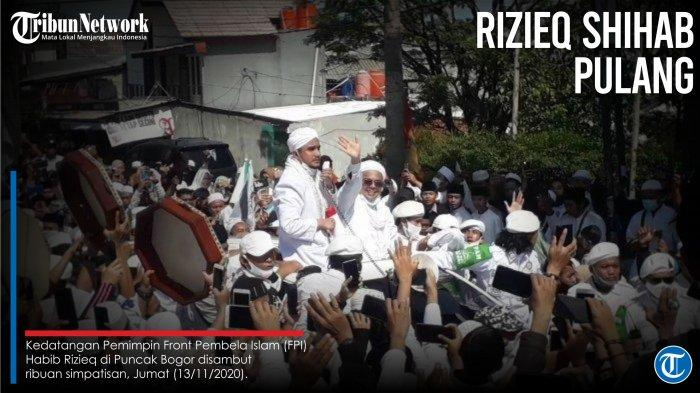Kedatangan Pemimpin Front Pembela Islam (FPI) Habib Rizieq di Puncak Bogor disambut ribuan simpatisan, Jumat (13/11/2020). (TribunnewsBogor.com/Naufal Fauzy)