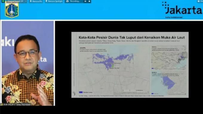 Gubernur DKI Jakarta Anies Baswedan dalam webinar Jakarta Tenggelam: Kupas Tuntas Statement Presiden Amerika, di kanal Youtube Ikatan Alumni ITB, Selasa (10/8/2021) malam.