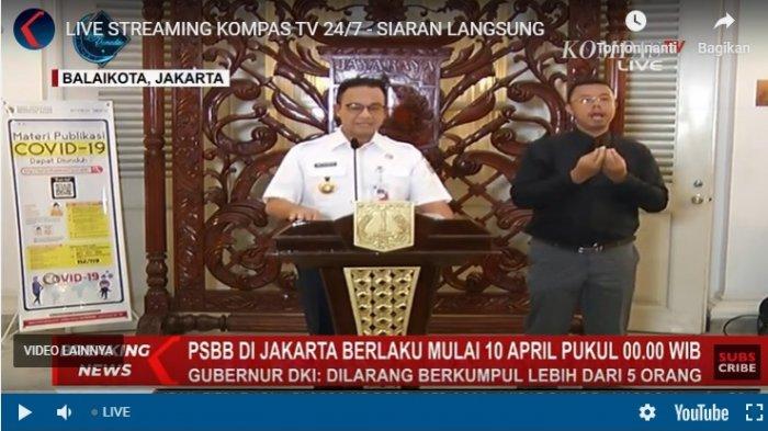 Gubernur DKI Jakarta Anies Baswedan dalam jumpa pers, Kamis (9/4/2020) malam.