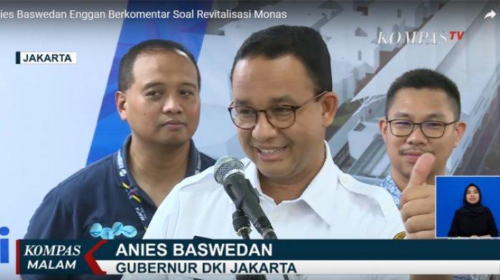 Gubernur DKI Jakarta Anies Baswedan enggan berkomentar soal penebangan ratusan pohon di pelataran sisi selatan Monas