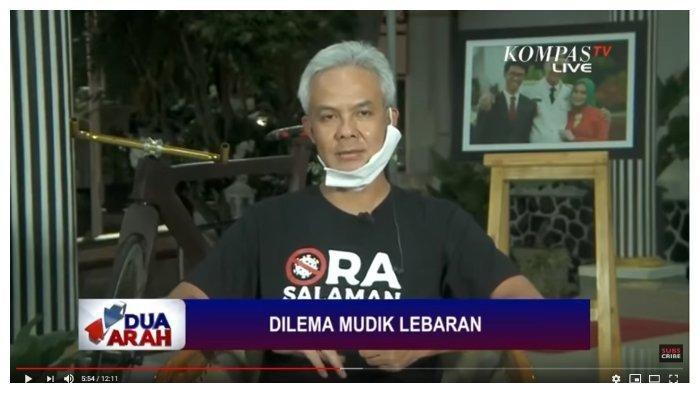 Gubernur Jawa Tengah Ganjar Pranowo dalam tayangan YouTube Kompas TV, Senin (6/4/2020).