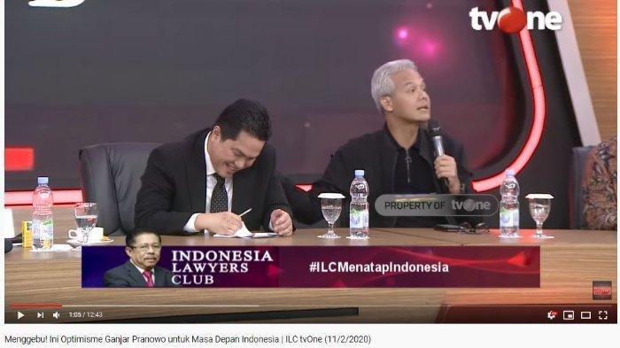 Gubernur Jawa Tengah, Ganjar Pranowo mengungkap percakapan dua menteri Presiden Joko Widodo (Jokowi), Erick Thohir dan Mahfud MD, dalam ILC, Selasa (11/2/2020).