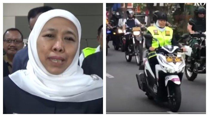 Gubernur Jawa Timur Khofifah Indar Parawansa konvoi memantau pengamanan natal di Jalan Jemur Andayani, Surabaya. Konvoi ini dilakukan bersama dengan Kapolda Jawa Timur dan Pangdam V Brawijaya.
