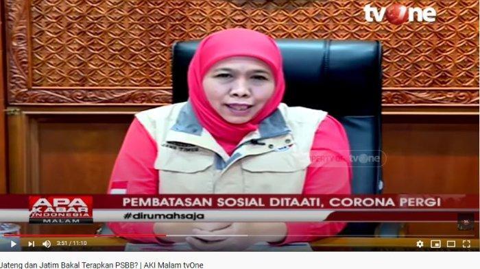 Gubernur Jawa Timur Khofifah Indar Parawansa ungkap soal kabar PSBB di Malang dan Surabaya.