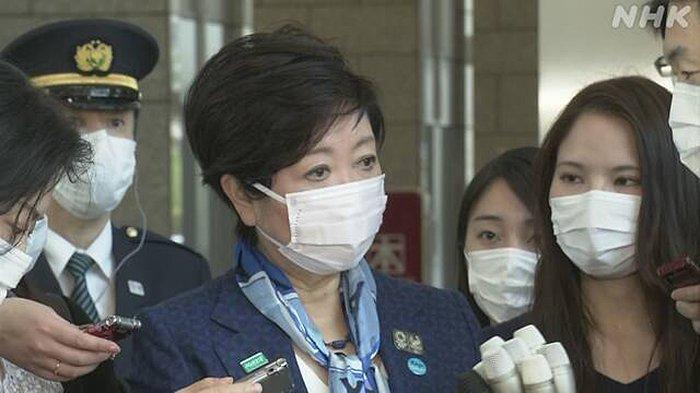 Gubernur Tokyo Yuriko Koike dalam jumpa pers, Jumat (3/4/2020) siang.