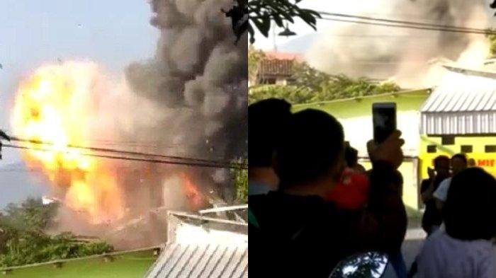 VIDEO warga panik gudang senjata Mako Brimob di Semarang terbakar dan meledak, Sabtu (14/9/2019), 1 anggota Brimob terluka.