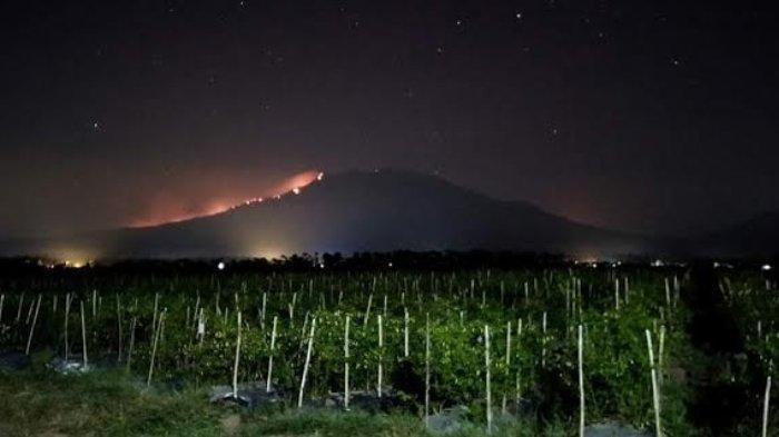 Penampakan terbakarnya Gunung Raung, Jumat (4/10/2019) malam.