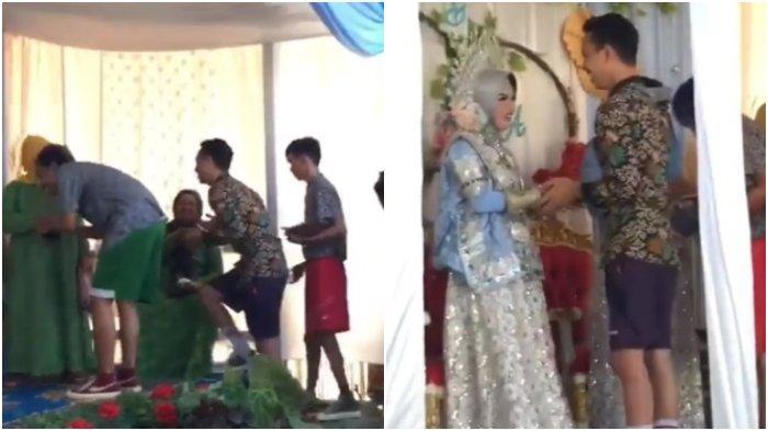 Viral rombongan pria yang menghadiri pesta pernikahan temannya memakai celana bola di Makassar.