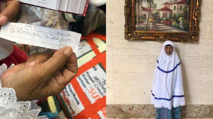 Mistiya, Jemaah haji asal Pamekasan, Madura, Jawa Timur, menunjukkan nama barunya setelah berhaji di Hotel Arkan Bakkah, Makkah. Jemaah haji Madura punya tradisi mengganti nama setelah menunaikan ibadah haji di Tanah Suci. (Tribunnews/Muhammad Husain Sanusi/MCH2019)