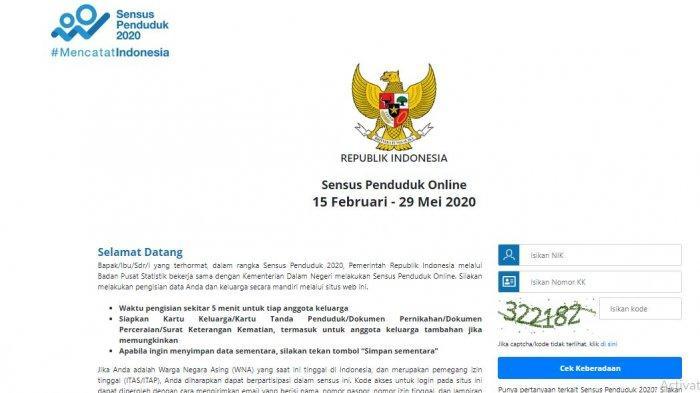 Halaman Depan Pengisian Sensus Penduduk Online 2020. (sensus.bps.go.id)