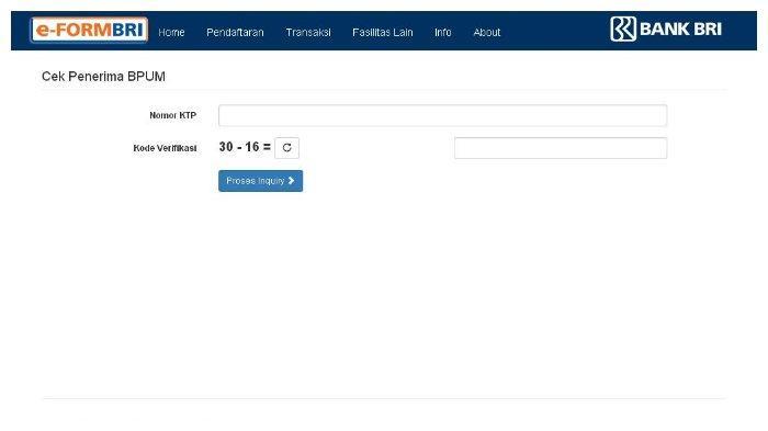 Halaman eform.bri.co.id/bpum