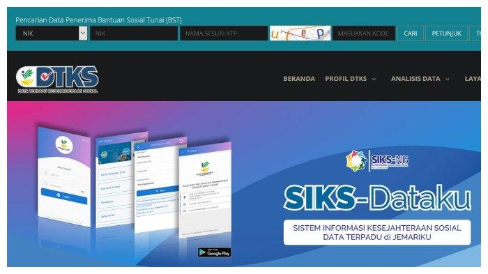 Halaman utama dtks.kemensos.go.id - Cek Penerima Bansos Tunai Rp 300 Ribu di dtks.kemensos.go.id, Pilih ID Kepesertaan, Ini Caranya.